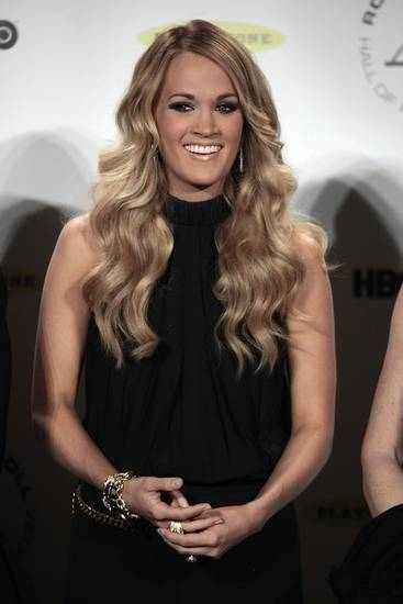 Carrie Underwood appears in the press room at the 2014 Rock and Roll Hall of Fame on Thursday, April, 10, 2014 in New York. (AP)