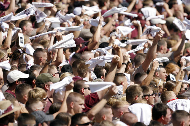 Fans cheer in the first half during the OSU-Texas A&M game on Saturday. Photo by Sarah Phipps, The Oklahoman