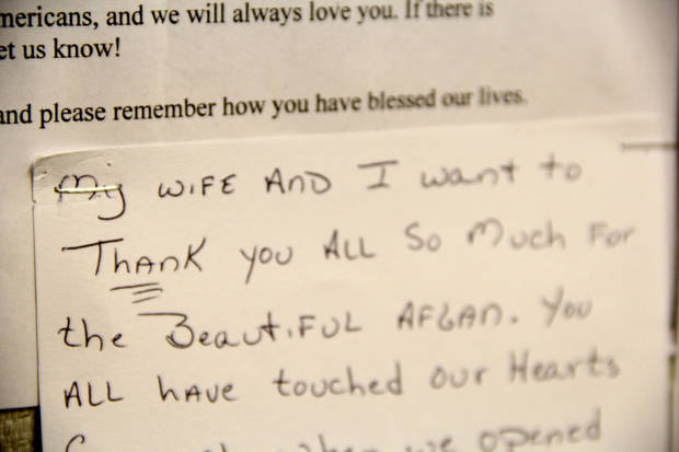 One of many thank you letters written to the veterans of the Afghan Project and Veteran's club at the James Crabtree Correctional Center.  Photo by Darryl Golden, The Oklahoman