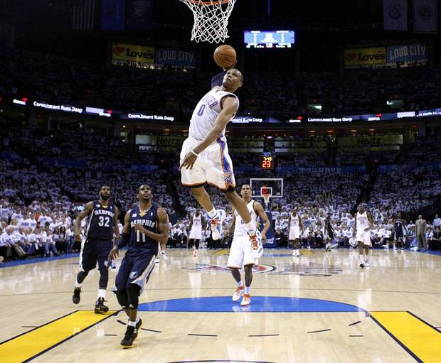 Oklahoma City's Russell Westbrook (0) dunks during game five of the Western Conference semifinals between the Memphis Grizzlies and the Oklahoma City Thunder in the NBA basketball playoffs at Oklahoma City Arena in Oklahoma City, Wednesday, May 11, 2011. Photo by Sarah Phipps, The Oklahoman  ORG XMIT: KOD