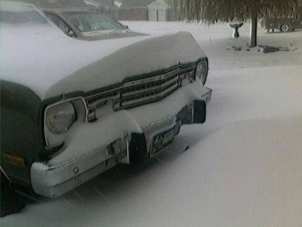 Snow drift on our old car. SW OKC.  Submitted by Cathy Hempel.