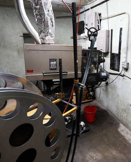 The projection room is shown at the Time Theater in Stigler.