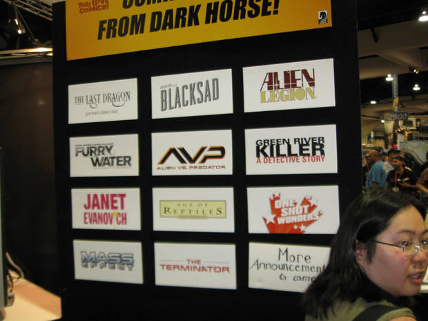 A display of some of the coming titles from Dark Horse Comics