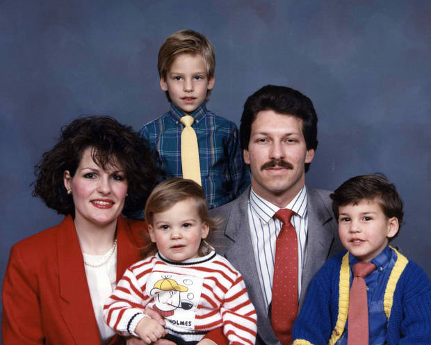 Vicki, Curtis, Michael, Scott and Brett Behenna in a family photo around1988. Photo provided by the Behenna Family