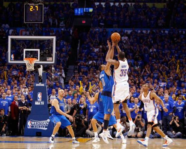 Oklahoma City's Kevin Durant (35) has his final shot of regulation blocked by Shawn Marion (0) of Dallas in the fourth quarter as Jason Kidd (2) of Dallas and Russell Westbrook (0) of Oklahoma City look on during game 4 of the Western Conference Finals in the NBA basketball playoffs between the Dallas Mavericks and the Oklahoma City Thunder at the Oklahoma City Arena in downtown Oklahoma City, Monday, May 23, 2011. Dallas won in overtime, 112-105. Photo by Nate Billings, The Oklahoman