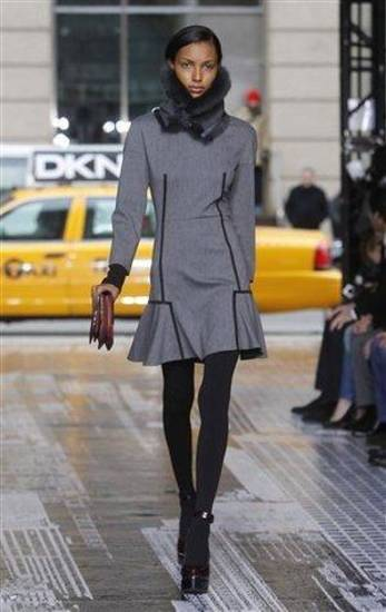 DKNY fall 2012 outfit shown during Fashion Week in New York. AP PHOTO