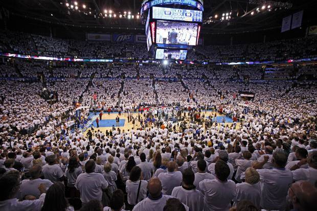 The crowd watches during the trophy presentation after Game 6 of the Western Conference Finals between the Oklahoma City Thunder and the San Antonio Spurs in the NBA playoffs at the Chesapeake Energy Arena in Oklahoma City, Wednesday, June 6, 2012. Oklahoma City won 107-99. Photo by Bryan Terry, The Oklahoman