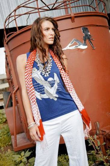Vintage Anchor is from the Bombs Away line of T-shirts by artist and designer Dustin Oswald. Red scarf and gauze pants by Elan, plus accessories, all sold at Gil's Clothing & Denim Bar, 7644 N Western. Photo by Chris Landsberger, The Oklahoman.
