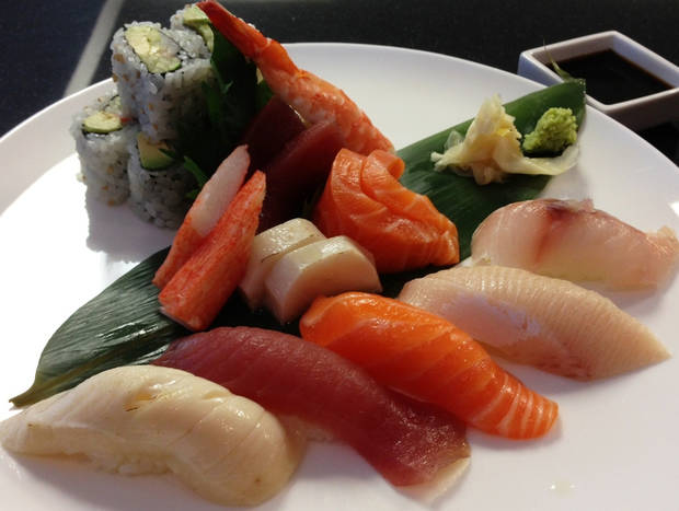 The sushi-sashimi lunch combo at Tabashi includes one California Roll and chef's choice of sashimi and nigiri.