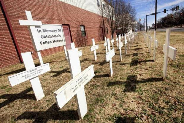 Memorial crosses at Windsor Hills Baptist Church, 5517 NW 23 Street, in Oklahoma City Thursday, Feb. 17, 2011. Photo by Paul B. Southerland, The Oklahoman ORG XMIT: KOD
