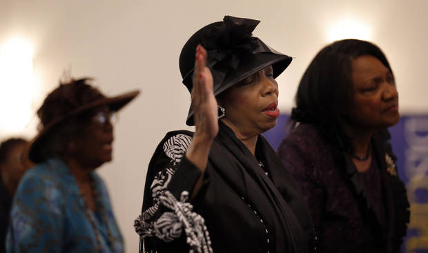 Phyllis Reece prays during service at Fairview Baptist Church in Oklahoma City, Sunday, Jan. 27, 2013. Photo by Sarah Phipps, The Oklahoman