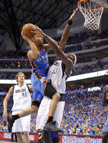 Oklahoma City's Eric Maynor (6) runs into Brendan Haywood (33) of Dallas  during game 2 of the Western Conference Finals in the NBA basketball playoffs between the Dallas Mavericks and the Oklahoma City Thunder at American Airlines Center in Dallas, Thursday, May 19, 2011. Photo by Bryan Terry, The Oklahoman