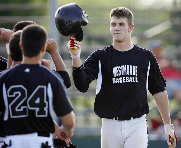 Bryce Harper is met by his Westmoore teammates after hitting a two-run home run for Westmoore in the fourth inning of a summer-league game in 2009. Harper spent a week in Oklahoma City, playing for Westmoore�s summer-league team. PHOTO BY NATE BILLINGS, The Oklahoman Archives