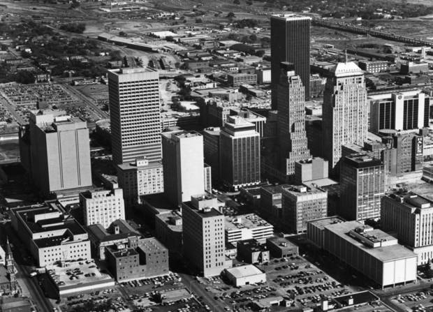OKLAHOMA CITY / SKY LINE / OKLAHOMA / AERIAL VIEWS / AERIAL PHOTOGRAPHY / AIR VIEWS:  Downtown - October 1978. Photo dated 11/23/1978 and published on 12/31/1978 in The Daily Oklahoman.