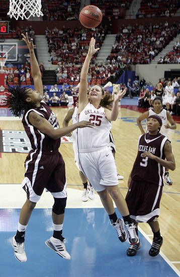 Whitney Hand shoots over the block of Danielle Gant, left, as Takia Starks (3) watches during a 2009 Big 12 Tournament game in Oklahoma City. PHOTO BY STEVE SISNEY, The Oklahoman Archives