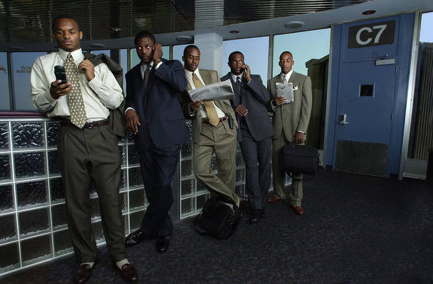 "Former OU receivers as ""frequent flyers"" for The Oklahoman's 2000 football preview section. From left, Damian Mackey, Antwone Savage, Curtis Fagan, Josh Norman and Andre Woolfolk. OKLAHOMAN ARCHIVE PHOTO"