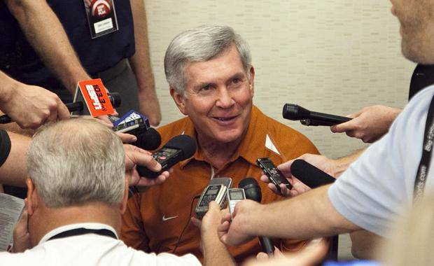 Texas football coach Mack Brown speaks to reporters at the Big 12 football press conference on Monday, July 25, 2011, in Dallas. (AP Photo/The Daily Texan, Thomas Allison)