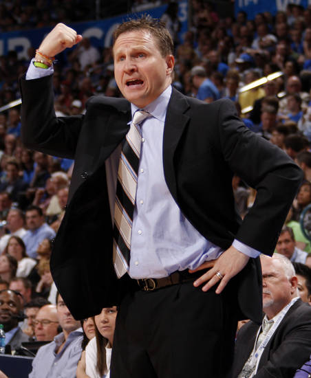 Oklahoma City coach Scott Brooks reacts during the NBA basketball game between the Oklahoma City Thunder and the Denver Nuggets at Chesapeake Energy Arena in Oklahoma City, Wednesday, April 25, 2012. Oklahoma City lost 106-101.  Photo by Bryan Terry, The Oklahoman