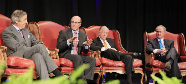 "George Kaiser, president, CEO and owner of GBK Corporation, Tom Ward, chairman and Chief Executive Officer of SandRidge, T. Boone Pickens, founder and chairman, BP Capital Management, and John Richels, president, Devon Energy, participate in a session titled ""Creative Frontiers, Innovation in Corporate America"" at the Creativity World Forum being held in downtown Oklahoma City Tuesday, Nov. 16, 2010.  Photo by Paul B. Southerland, The Oklahoman ORG XMIT: KOD"