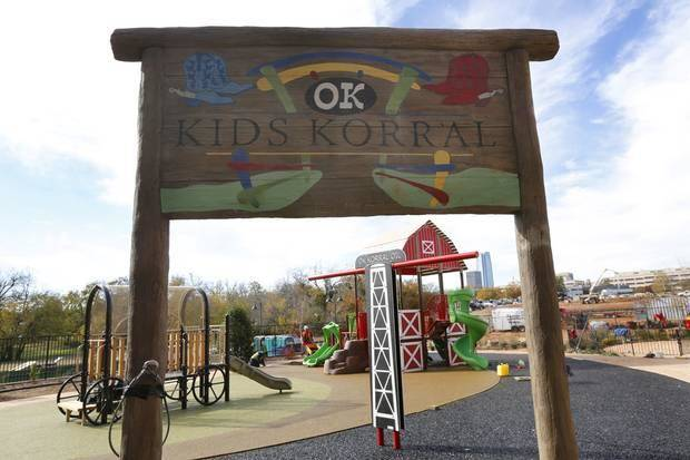 The outdoor playground at the OK Kids Korral has an Oklahoma theme. Photo by Steve Gooch, The Oklahoman