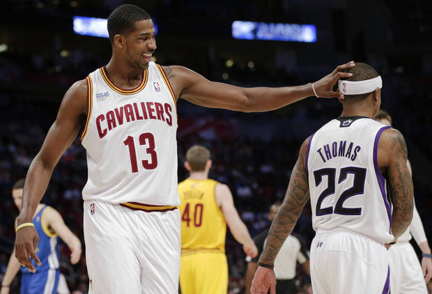 Team Chuck's Tristan Thompson of the Cleveland Cavaliers, left, celebrates with Isaiah Thomas against during the first half against Team Shaq in the Rising Stars Challenge basketball game at NBA All-Star Weekend, Friday, Feb. 15, 2013, in Houston. (AP Photo/Eric Gay)