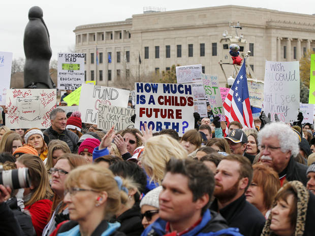 View of the crowd during a rally and walkout by Oklahoma teachers at the state Capitol in Oklahoma City, Monday, April 2, 2018. Photo by Nate Billings, The Oklahoman
