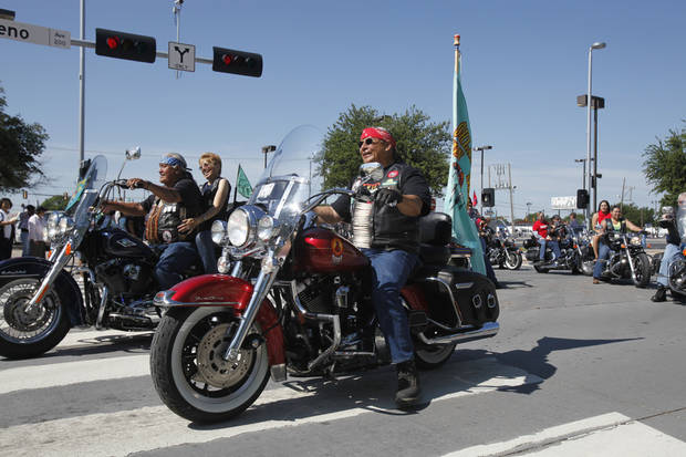 A group of bikers ride through downtown Oklahoman City during the Red Earth parade on Friday, June 7, 2013. Photo by Aliki Dyer, The Oklahoman
