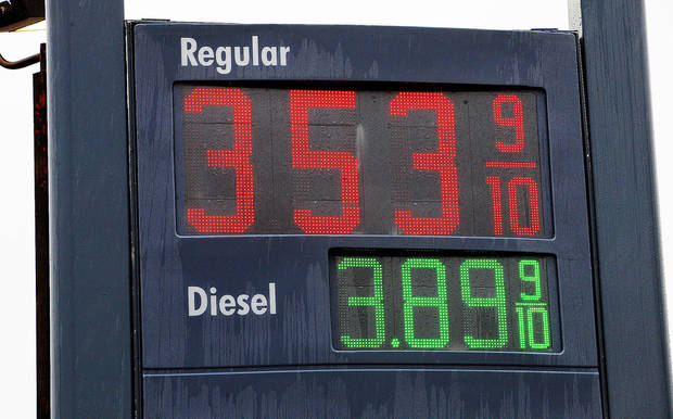Gasoline prices posted Monday at the Shell station at NW 36 Street and Portland in Oklahoma City. Photo by Paul B. Southerland, The Oklahoman