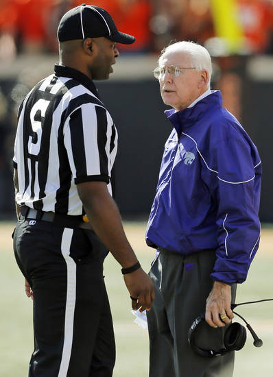 Kansas State head coach Bill Snyder talks to an official during a college football game between the Oklahoma State University Cowboys (OSU) and the Kansas State University Wildcats (KSU) at Boone Pickens Stadium in Stillwater, Okla., Saturday, Oct. 5, 2013. Photo by Nate Billings, The Oklahoman