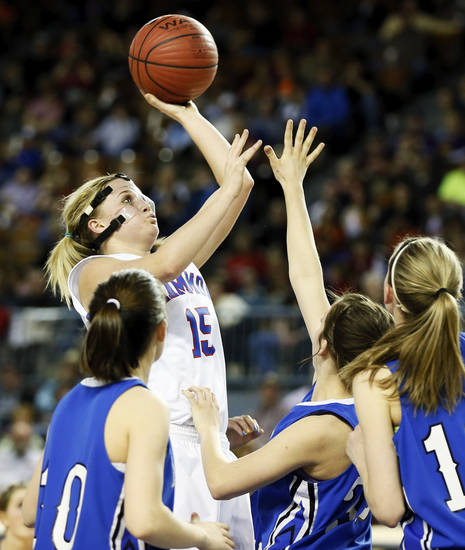 Hammon's Kori Barrios (15) takes a shot during a Class B Girls semifinal game of the state high school basketball tournament between Hammon and Lomega at Jim Norick Arena, The Big House, on State Fair Park in Oklahoma City, Friday, March 1, 2013. Lomega won, 60-52. Photo by Nate Billings, The Oklahoman