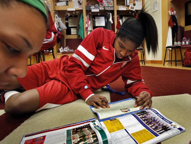 University of Oklahoma (OU) women's basketball player Aaryn Ellenberg fills out her bracket before practice for first round of the NCAA Women's Basketball Championship Tournament at the Lloyd Noble Center on Saturday, March 17, 2012, in Norman, Okla.   Photo by Steve Sisney, The Oklahoman