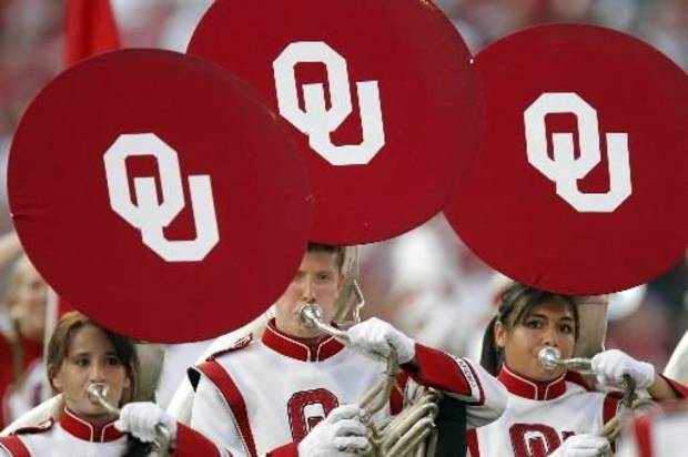 Members of the Pride of Oklahoma play during the college football game between the University of Oklahoma Sooners ( OU) and the Tulsa University Hurricanes (TU) at the Gaylord Family-Memorial Stadium on Saturday, Sept. 3, 2011, in Norman, Okla. Photo by Chris Landsberger, The Oklahoman ORG XMIT: KOD