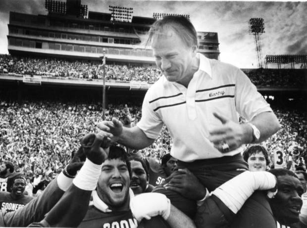 "<strong>Happy Birthday wish from Steve Owens, former OU running back: </strong><br> <i>""(Happy Birthday to) the greatest. We came to OU the same year. I was in that first class you were there. You've made such a difference in my life. You made me a better football player and a better person.""</i><br> <br />  <strong>1982: Switzer on top</strong><br> In this October 1982 photos, Switzer gets a ride out of the Cotton Bowl after the Sooners beat Texas 28-22. PHOTO BY JIM ARGO, The Oklahoman Archive"