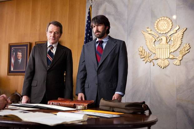 "This film image released by Warner Bros. Pictures shows Bryan Cranston, left, as Jack OíDonnell and Ben Affleck as Tony Mendez in ""Argo,""  a rescue thriller about the 1979 Iranian hostage crisis. (AP Photo/Warner Bros., Claire Folger) ORG XMIT: NYET605"
