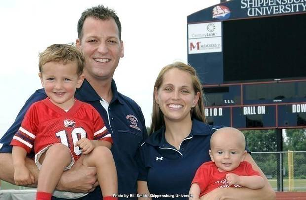 New OSU OC Mike Yurcich with his family / (Photo by Bill Smith / Shippensburgh University)