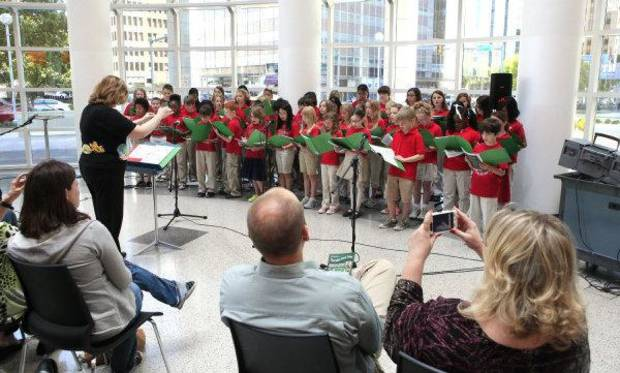 The Cleveland Choraleers from Cleveland Elementary School perform during Noon Tunes at the downtown library in Oklahoma City. Noon Tunes performances are free and happen every Thursday. &lt;strong&gt;PAUL B. SOUTHERLAND - THE OKLAHOMAN&lt;/strong&gt;