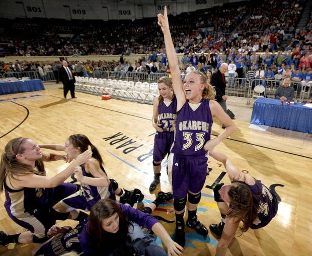 CELEBRATION: Okarche's Kristen Meyer celebrates the Lady Warriors win over Chattanooga in the finals of the Class A girls high school basketball state tournament  between Chattanooga and Okarche at the State Fair Arena, Saturday, March 6, 2010, in Oklahoma City. Photo by Sarah Phipps, The Oklahoman  ORG XMIT: KOD