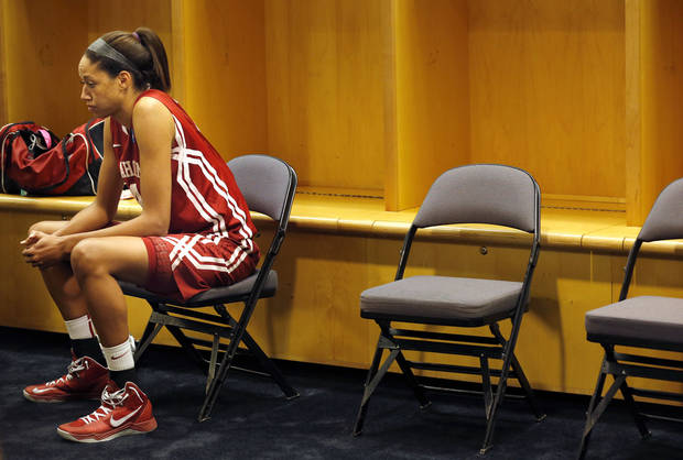 Oklahoma's Nicole Griffin (4) reacts after losing to Tennessee at the  Oklahoma City Regional for the NCAA women's college basketball tournament at Chesapeake Energy Arena in Oklahoma City, Sunday, March 31, 2013. Photo by Sarah Phipps, The Oklahoman