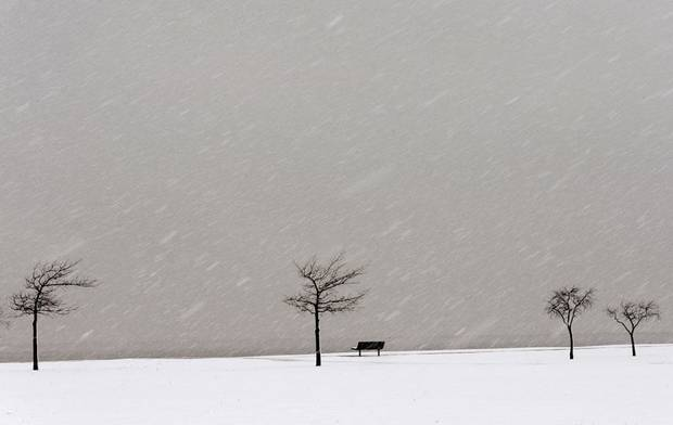 Snow falls at Lake Hefner in Oklahoma City, Tuesday, Feb., 12, 2013. Photo by Bryan Terry, The Oklahoman