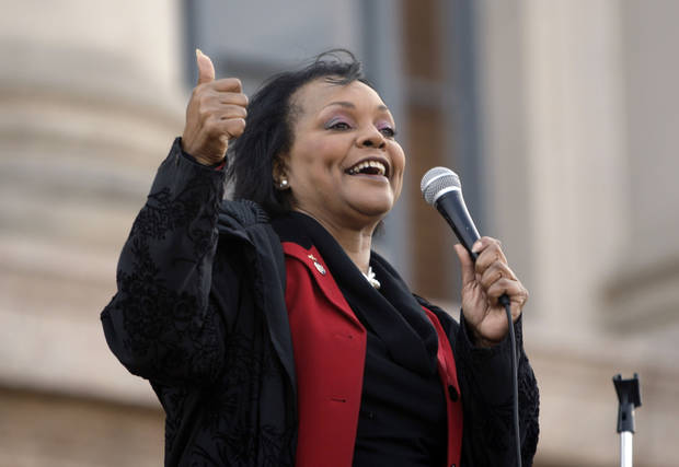 Sen. Constance Johnson speaks during a rally opposing the Personhood measures at the state Capitol, Tuesday, Feb. 28, 2012. Photo by Sarah Phipps, The Oklahoman