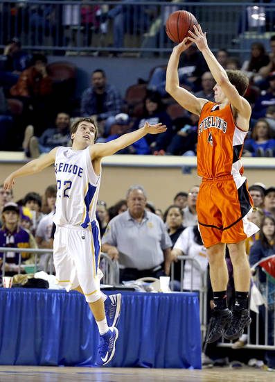 Sterling's Reece Seibold shoots over Glencoe's Jake Lazenby during the Class A boys semifinal game of the state high school basketball tournament between Glencoe and Sterling at the State Fair Arena., Friday, March 1, 2013. Photo by Sarah Phipps, The Oklahoman