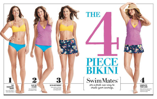 Lands' End Introduces the 4 Piece Bikini. SwimMates are a fresh new way to layer swim and customize coverage to suit yourself.  (PRNewsFoto/Lands' End)