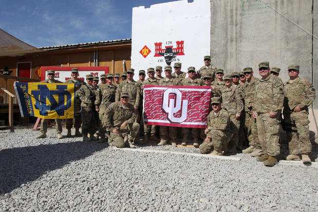 (U) OK National Guard members of the 120th EN BN support OU (and ND) in the upcoming game!