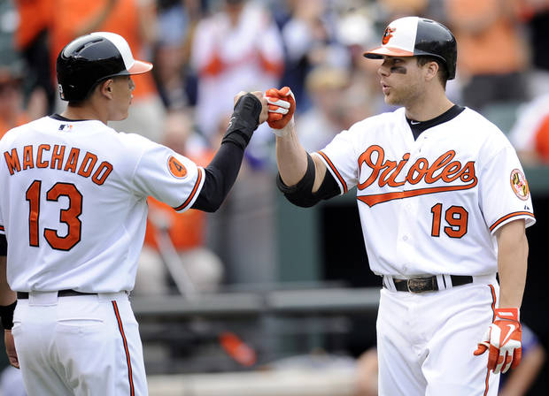Baltimore Orioles' Chris Davis (19) celebrates his two-run with teammate Manny Machado (13) against the Colorado Rockies during the eighth inning of a baseball game on Sunday, Aug. 18, 2013, in Baltimore. The Orioles won 7-2. (AP Photo/Nick Wass)