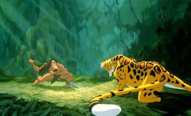 Tarzan fights a leopard in this scene from Disney&acirc;��s full-length animated feature film, &quot;Tarzan,&quot; which opened in theaters in  1999. AP file image