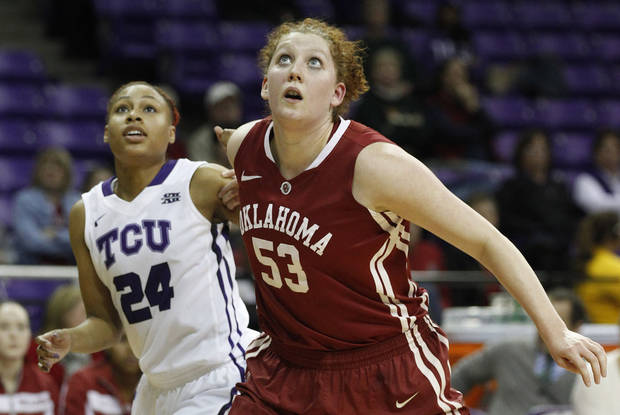 TCU's Natalie Ventress, left, and Oklahoma forward Joanna McFarland watch for a rebound during an NCAA college basketball game in Fort Worth, Texas, Wednesday, Jan. 9, 2013. (AP Photo/Star-Telegram, Ron T. Ennis)  MAGAZINES OUT (FORT WORTH WEEKLY, 360 WEST); INTERNET OUT ORG XMIT: TXFOR902