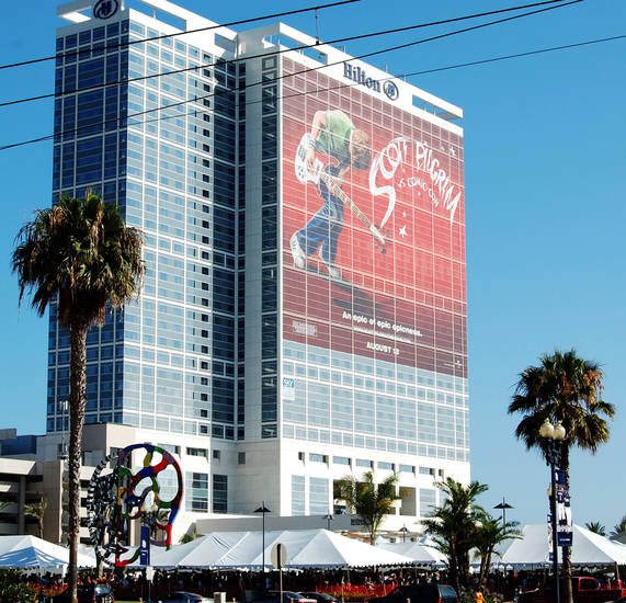 """Scott Pilgrim vs. The World"" was promoted via this huge display on the side of the Hilton hotel near the San Diego convention center. Photo by Annette Price."