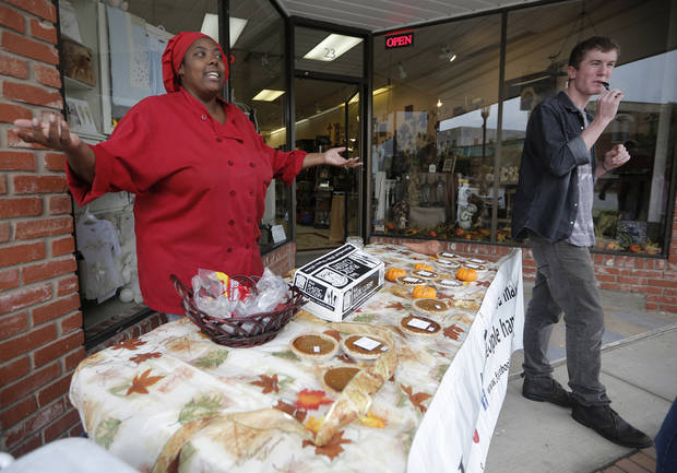 Shelley Brown, of Big Mama's, sells cakes and pies during the Downtown Edmond Fall Art Crawl in Edmond, Okla., Saturday, Sept. 29, 2012.  Photo by Garett Fisbeck, The Oklahoman