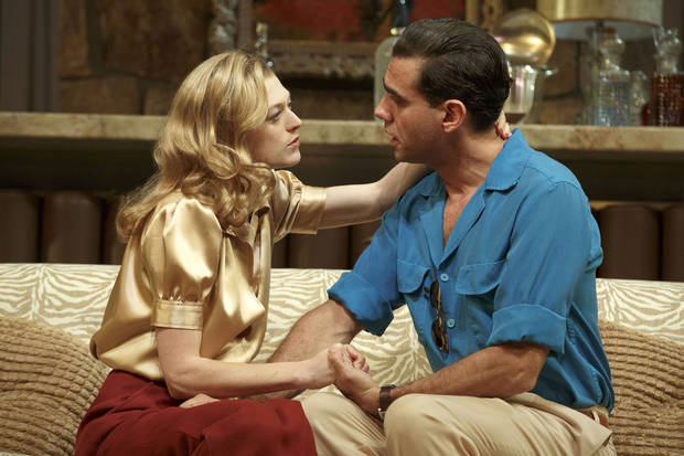 This publicity image released by Polk PR shows Marin Ireland, left, and Bobby Cannavale in a scene from Clifford Odets� drama �The Big Knife�, currently performing on Broadway at the Roundabout Theatre Company�s American Airlines Theatre in New York. (AP Photo/Polk PR, Joan Marcus)