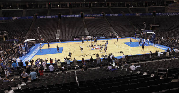 The Oklahoma City Thunder take to the court during the NBA Finals practice day at the Chesapeake Energy Arena on Monday, June 11, 2012, in Oklahoma City, Okla. Photo by Chris Landsberger, The Oklahoman